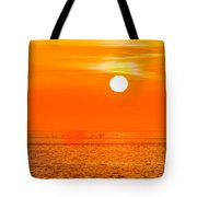 Sunset At Sea With Multiple Color Prizm Tote Bag