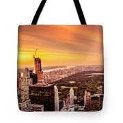Sunset Over Central Park And The New York City Skyline Tote Bag