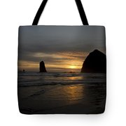 Sunset Over Haystack Rock In Cannon Beach Tote Bag