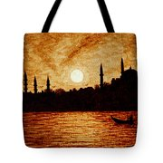Sunset Over Istanbul Original Coffee Painting Tote Bag