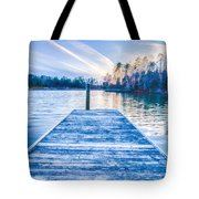 Sunset Over Lake Wylie At A Dock Tote Bag