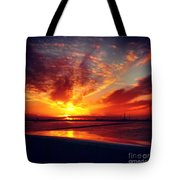 Sunset Puddle Reflections Tote Bag