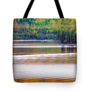 Sunset Reflections On Boreal Forest Lake In Yukon Tote Bag