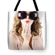 Surprised Beautiful Pin-up Girl. White Background Tote Bag