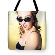 Surprised Pinup Girl On Tropical Beach Background Tote Bag