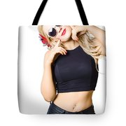 Surprised Pinup Woman Isolated On White Tote Bag