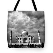 Taj Mahal India In Black And White Tote Bag