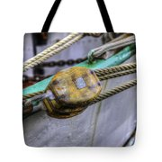 Tall Ship Wooden Line Block Tote Bag