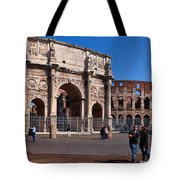 The Arch Of Constantine And Colosseum Tote Bag