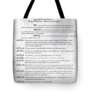 The Bill Of Rights H K Tote Bag