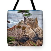 The Famous Lone Cypress Tree At Pebble Beach In Monterey California Tote Bag