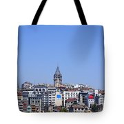The Galata Tower And Istanbul City Skyline In Turkey   Tote Bag