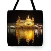 The Golden Temple At Amritsar At Night Tote Bag