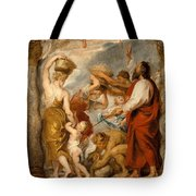 The Israelites Gathering Manna In The Desert Tote Bag