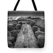 The Jetty In Black And White Tote Bag