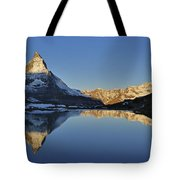 The Matterhorn And Riffelsee Lake Tote Bag