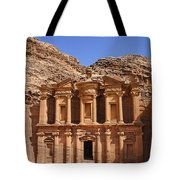 The Monastery Sculpted Out Of The Rock At Petra In Jordan Tote Bag