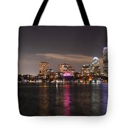 The Prudential Lit Up In Red White And Blue Tote Bag