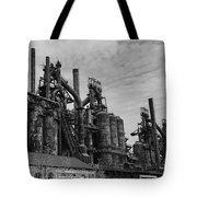 The Steel Mill In Black And White Tote Bag