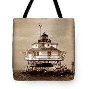 Thomas Point Shoal Lighthouse Sepia No. 2 Tote Bag