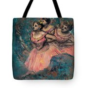 Three Dancers In Red Costume Tote Bag