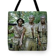Three Soldiers Statue Tote Bag
