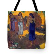 Three Tahitian Women Against A Yellow Background Tote Bag