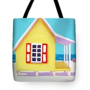 Tiny Yellow Cottage By The Sea Tote Bag