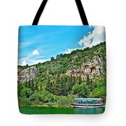 Tourboat Stops By Ancient Tombs In Daylan-turkey  Tote Bag
