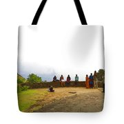 Tourists Posing For Photos Tote Bag