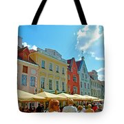 Town Square In Old Town Tallinn-estonia Tote Bag
