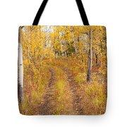 Trail In Golden Aspen Forest Tote Bag