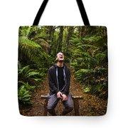 Travel Man Laughing In Tasmania Rainforest Tote Bag