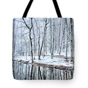 Tree Line Reflections In Lake During Winter Snow Storm Tote Bag