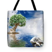 Tree Seagull And Sea Tote Bag