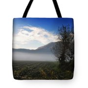 Tree With Fog Tote Bag
