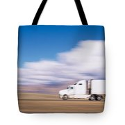 Truck On The Road, Interstate 70, Green Tote Bag
