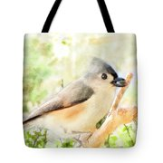 Tufted Titmouse With Seed - Digital Paint Tote Bag