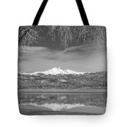 Twin Peaks Longs And Meeker Lake Reflection Bw Tote Bag