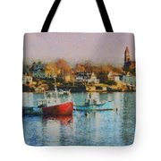 Two Lobster Boats On Marblehead Harbor With A Red Sky Tote Bag