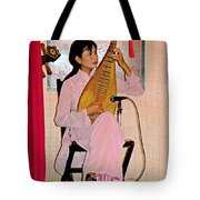 Two-stringed Lute Player At Wedding Ceremony Show In Binh Quoi Village-vietnam  Tote Bag