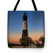 Tybee Light Sunset Tote Bag