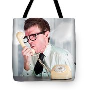 Unhappy Nerd Businessman Yelling Down Retro Phone Tote Bag