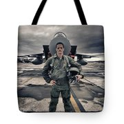 U.s. Air Force Pilot Standing In Front Tote Bag