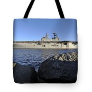 Uss Bataan Arrives At Naval Station Tote Bag