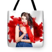 Valentines Day Woman Eating Heart Candy Tote Bag