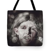Vampire Woman Holding Flower. Horror Valentine Tote Bag
