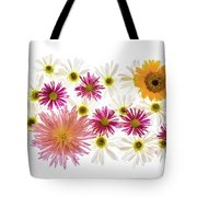 Variety Of Flowers Against White Tote Bag
