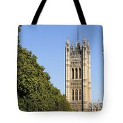 Victoria Tower And The Palace Of Westminster In London England Tote Bag