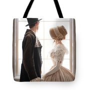 Victorian Couple Looking Out Of A Window Tote Bag